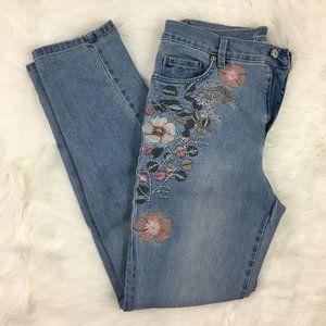Gloria Vanderbilt Floral Embroidered Denim Jeans